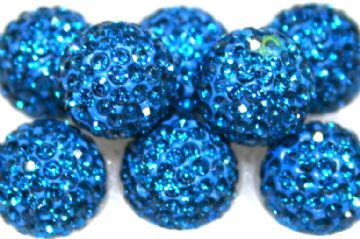 12mm Blue 130 Stone Pave Crystal Beads - Half Drilled  PCBHD12-130-026